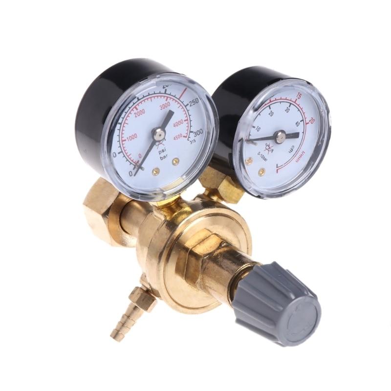 1pc Argon CO2 Gauges Pressure Reducer Mig Flow Meter Control Valve Dual Gauge Welding Regulator 108x120x125mm