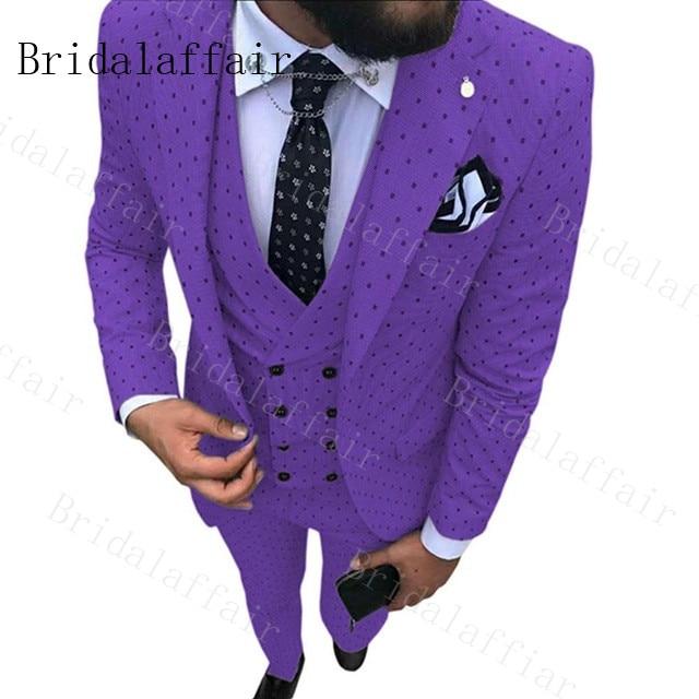Bridalaffair Suits-Set Wedding-Dress Business-Suit Groom Custom-Made Purple Formal Fashion-Style