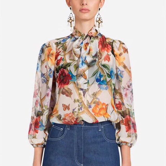 Designer Luxury Shirts for Women Vintage Insects Floral Prints Lantern Sleeve Blouse Tops