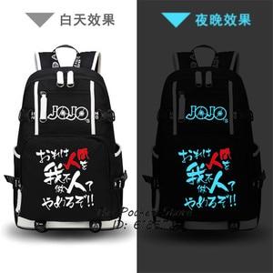 Image 4 - Anime JoJos Bizarre Adventure Printing Backpack Jonathan Joestar Cos Anime School Bags Canvas Travel Bags Mochila Feminina