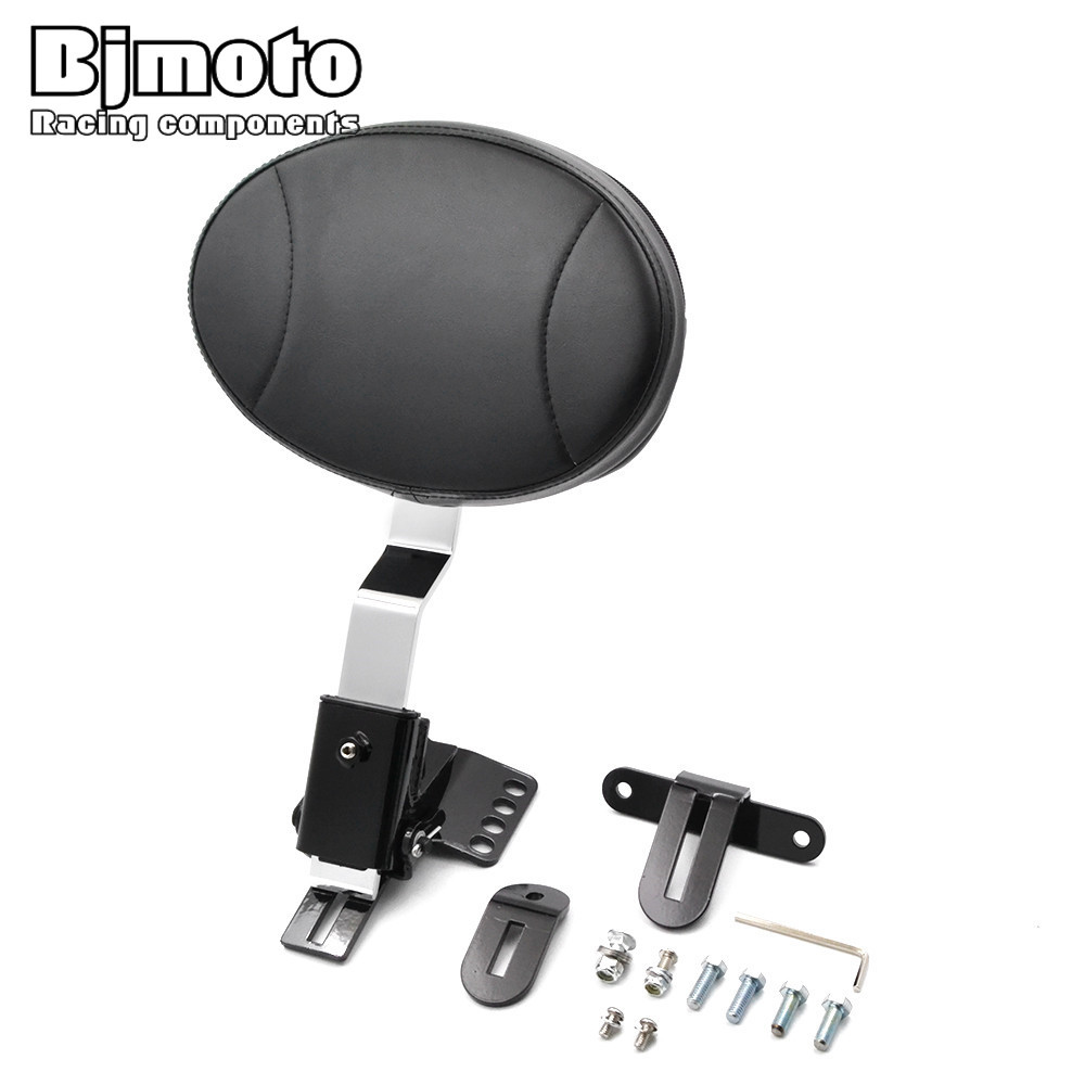 BJMOTO Motorcycle Adjustable Plug In Driver Rider Seat Backrest Kit For Harley Touring Electra Road Street Glide Road King 97 14