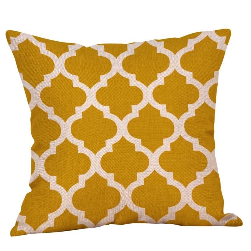 2018 New Pillow cover Geometric linen Mustard Pillow Case Yellow Geometric Fall Autumn Cushion Cover Decorative Pillowcases