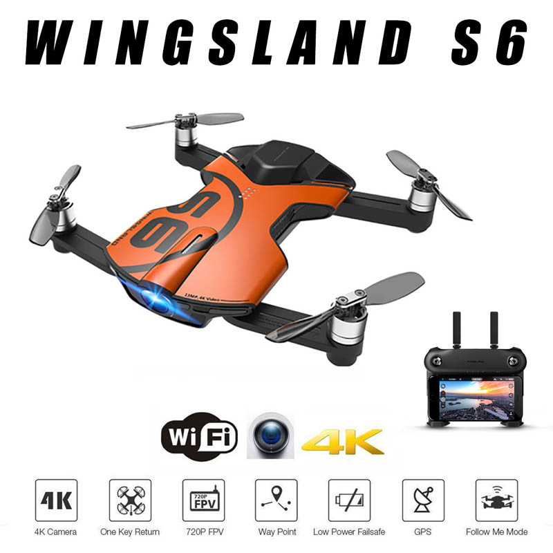 Wingsland S6 GPS WI-FI APP Control 4K UHD Camera Foldable Arm Pocket Selfie Drone WiFi FPV RC Quadcopter W/ Remote Control lepin 21010 914pcs technic super racing car series the red truck car styling set educational building blocks bricks toys 75913