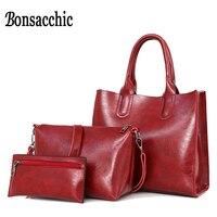 ca15e97a4 ... Mulheres Crossbody Das Senhoras bolsa embreagem. Bonsacchic 3pcs Top  Handle Leather Bags Woman Hand Bag Set Red Handbag For Women Crossbody Bag