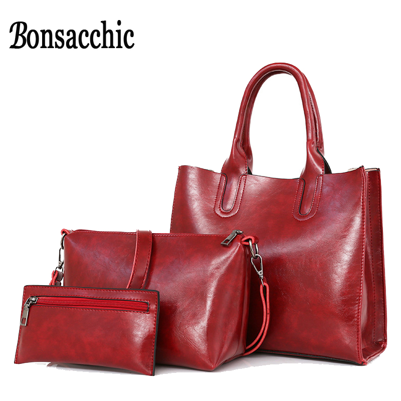Bonsacchic 3pcs Top-Handle Leather Bags Woman Hand Bag Set Red Handbag for Women Crossbody Bag Ladies Handbags Clutch Purse bags for women 2017 ladies cheap handbags crocodile silver clutch envelope evening purse leather shoulder woman clutch hand bag