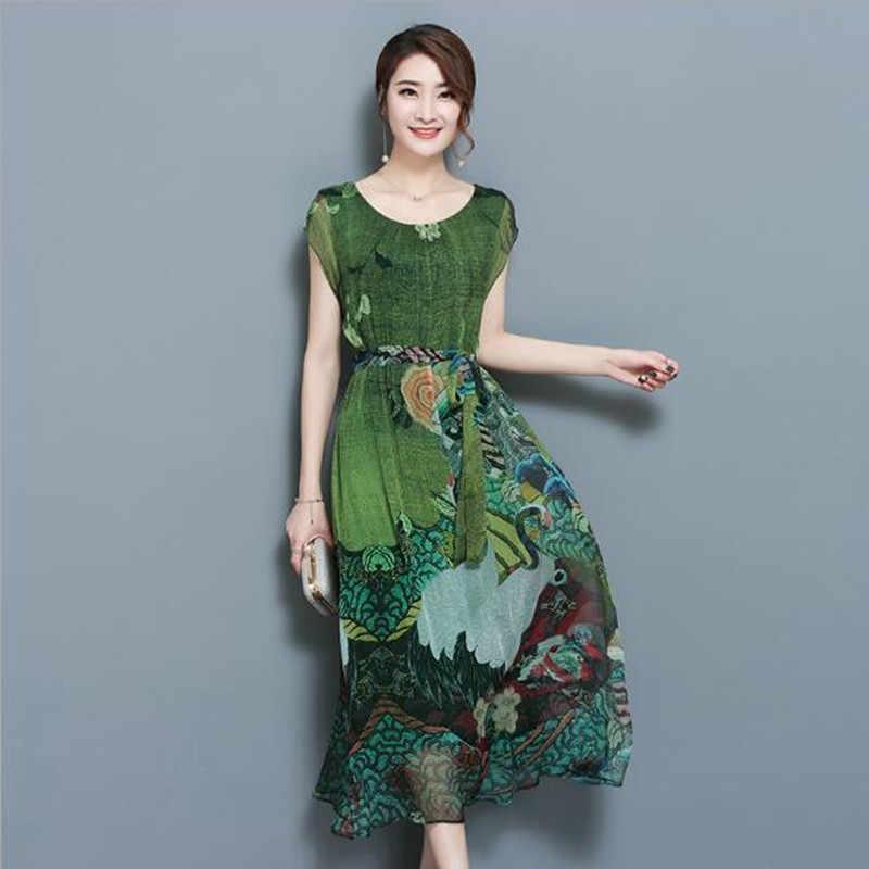 קיץ ירוק בציר פרחוני הדפסת שמלות נשים המפלגה שרוול קצר משי שמלה עם Sashes אמצע עגל Vestidos גדול גודל 4XL QV952