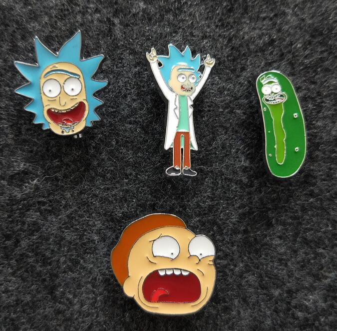 4 PCS/set  Rick And Morty Metal Badges Safety Pins For Clothes Badges  Icons On Backpack Decorative Brooches   X-62