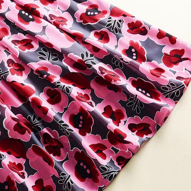 Femmes Lkh1830 One Designer Nouvelle Same As Collar Haute Photo Élégante Longues Manches Piece Arrivée Down Robe Imprimé Qualité 2018 Turn Fleur fOqwaBT