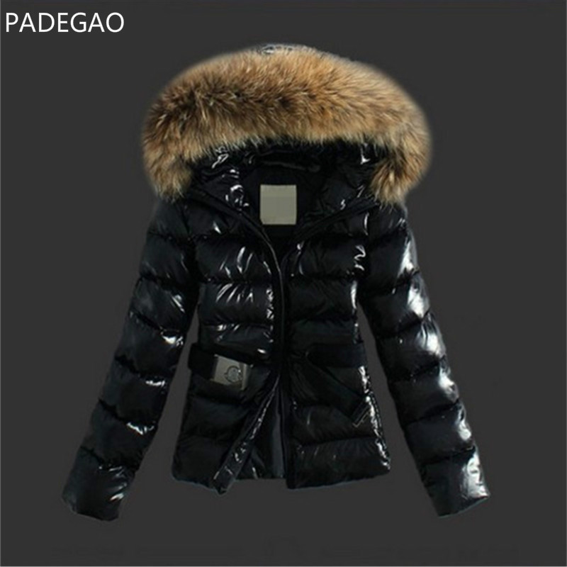 2017 Winter New Women Fur Collar Parka Down Cotton Jacket Belt Hooded Cotton Padded Coat Slim Fit Snow Warm Quilted Jacket women elegant winter warm long coat down padded jacket slim fur collar hooded parka coats 2017 female slim long parka with belt