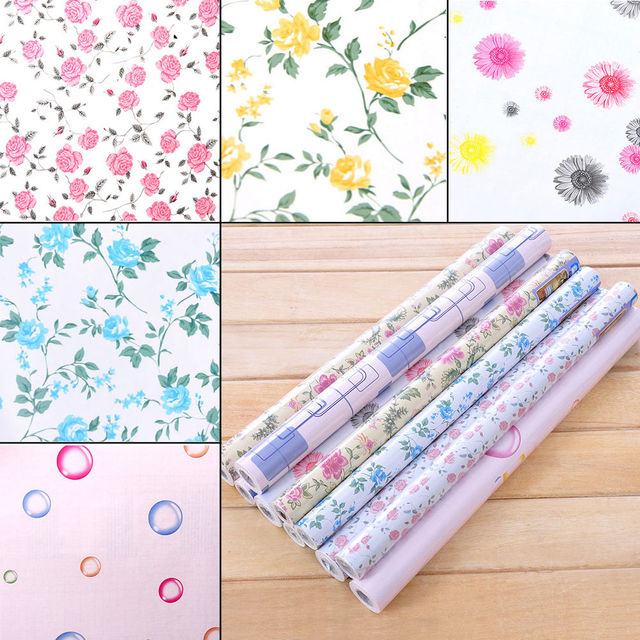 Yazi Floral Self Adhesive Drawer Liner Kitchen Cabinet Table Decor Sticker Wallpaper Stickers Mural Xcm