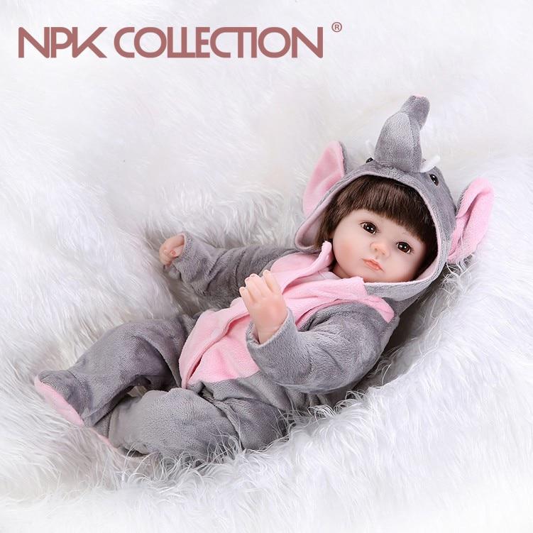 NPKCOLLECTION 40 cm Boneca Reborn Silicone Vinyle corps bébé Poupées Reborn Bebe Realista Mode Poupée Nouveau-Né Réaliste Bebe Enfants Jouet