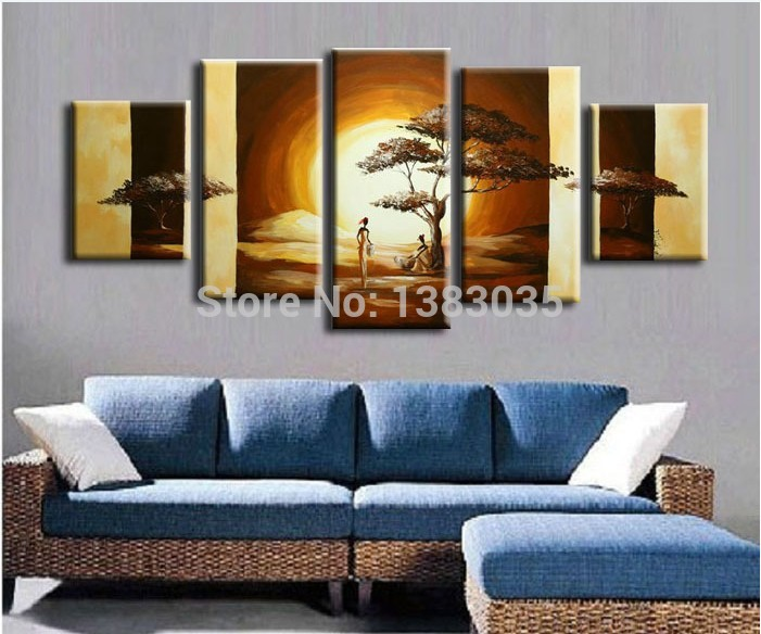 Hand Painted 5 Piece Abstract Landscape African Wall Decorations Picture Oil Painting Modern Canvas Art Sets