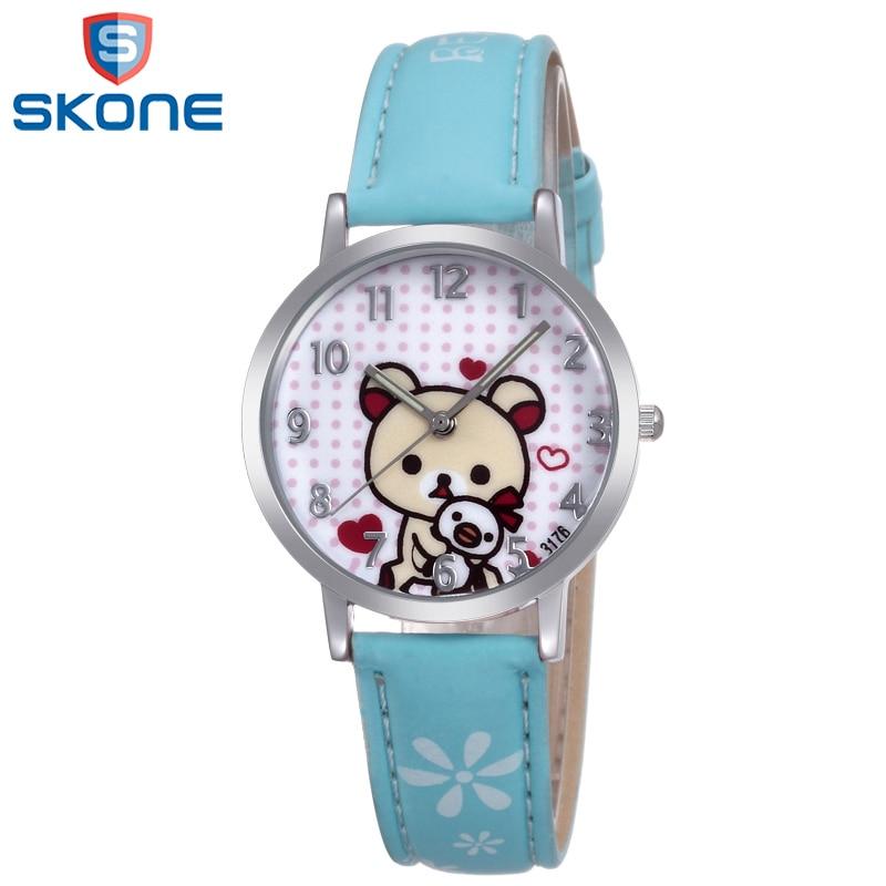 SKONE Cartoon Leather Strap Watch Clock for Girls Woman Luxury ...