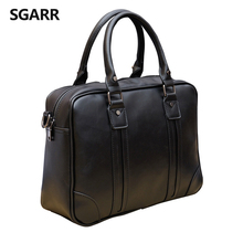 Large Capacity Famous Brand Crazy Horse Leather Business Man Briefcase 14inch Laptop Bag Casual Men's Leather Office Bag