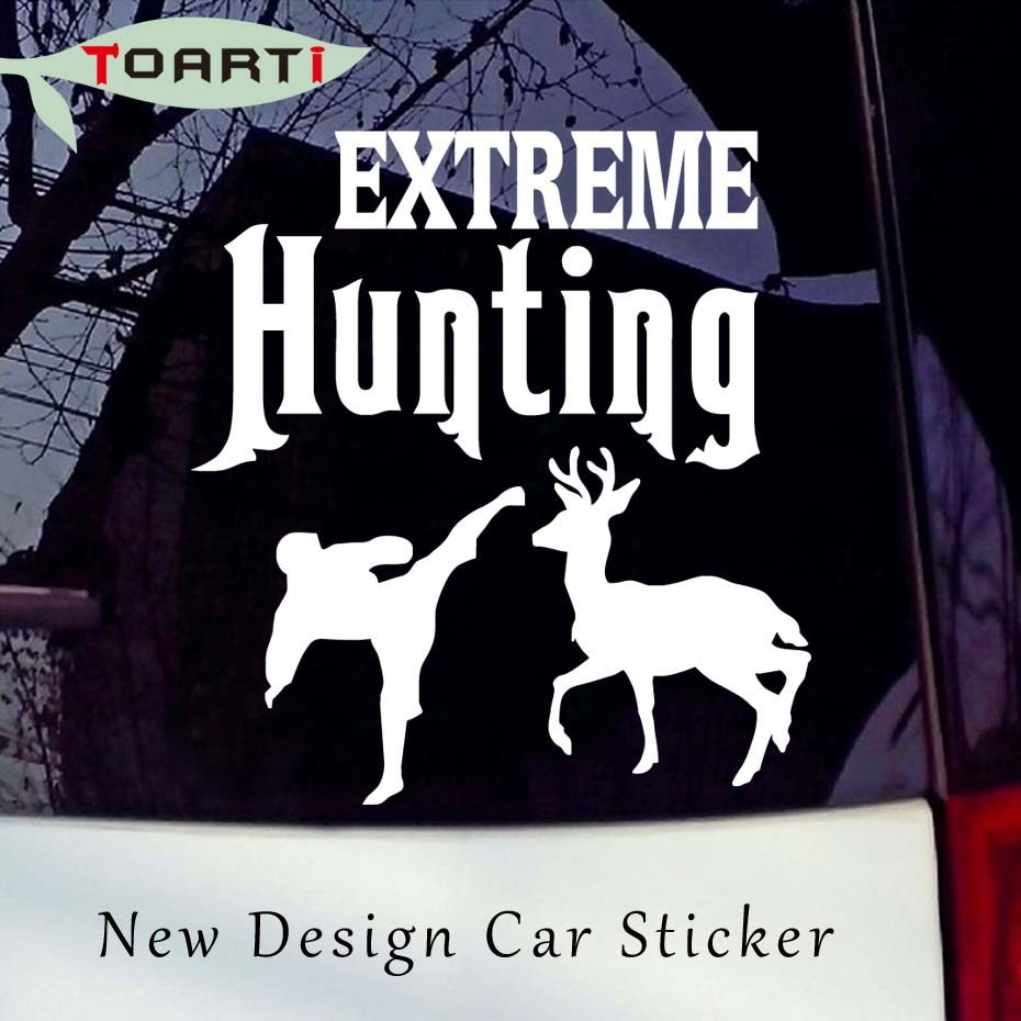 Extreme Hunting Car Styling Decal Hunter Kick The Deer Vinyl Art Car Accessories Sticker For Laptop Auto Truck Window Door Decor