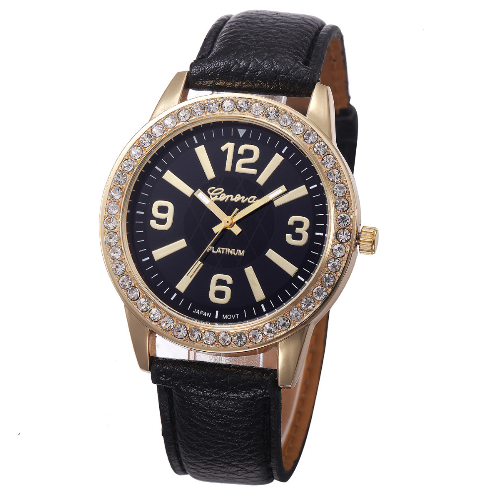 2016 High Quality Women Watches Geneva Clock Rhinestone Crystal Analog PU Leather Band Quartz Wrist Watch Relogio Reloj geneva watches women fashion diamond dial quartz wrist watch womens pu leather analog cheap watch men clock relogio reloj zer