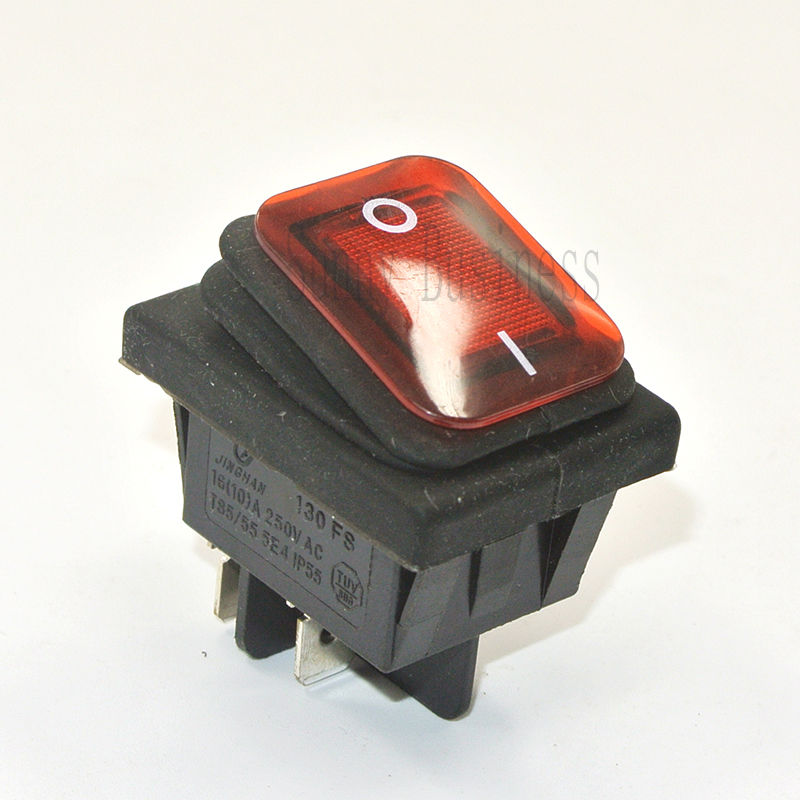 50PCs RED GREEN ON/OFF Waterproof boat rocker switch KCD4 4 pin ON - OFF power switch with 220V light