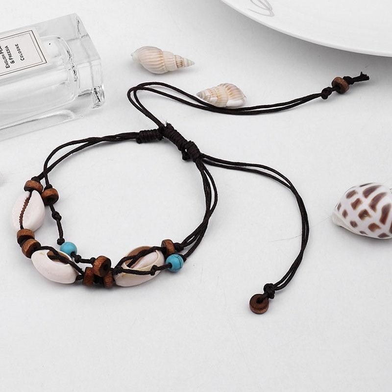 Anklets Seashell Boho Wood Foot-Chain for Women Bead Bracelet on Leg Wax-Rope Beach-Jewel