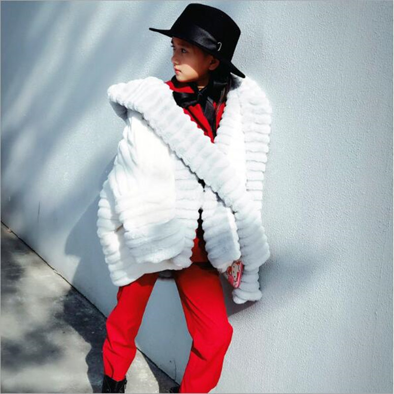 Light Blue White Hooded Coat With Scarf Cotton Padded overcoat Shawl Cloak Cape Jacket big girl Faux Fur Clothing QV26