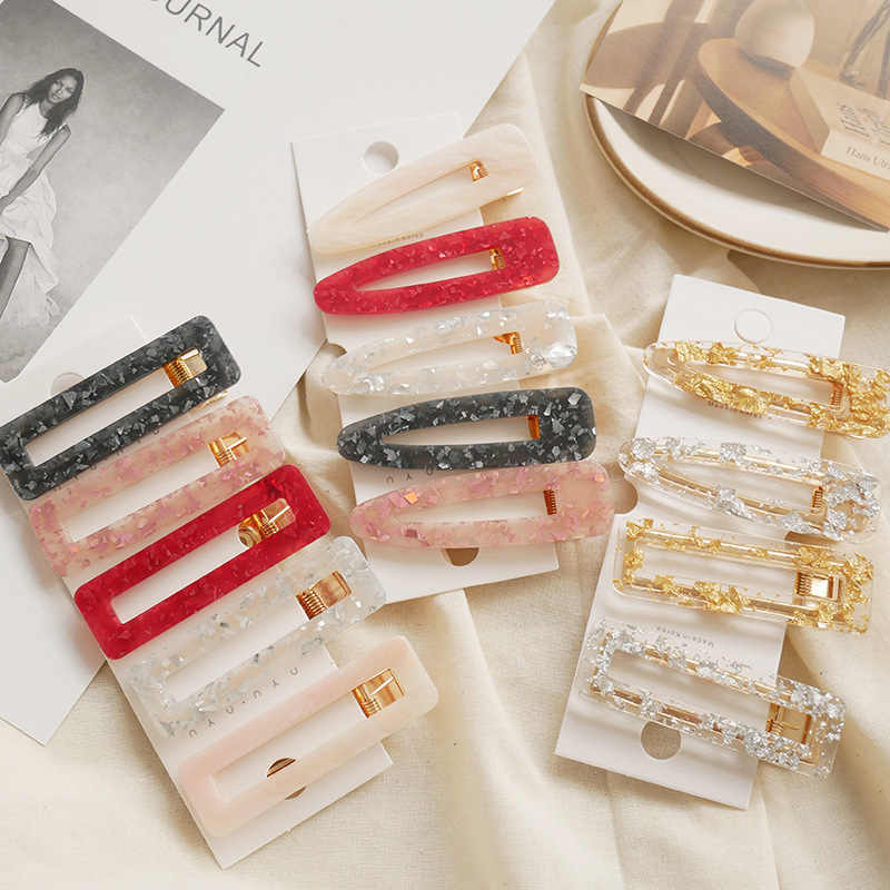 2019 Women Girls Hollow Acrylic Waterdrop Rectangle Hair Clips Tin Foil Sequins Hairpins Barrettes Headbands Hair Accessories