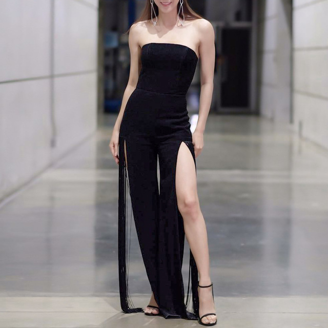 278cd59d21dc Thailand Style Fashion Nova Women Wear Celebrity Black Cold Shoulder  Sleeveless Strapless Split Leg Long Tassel
