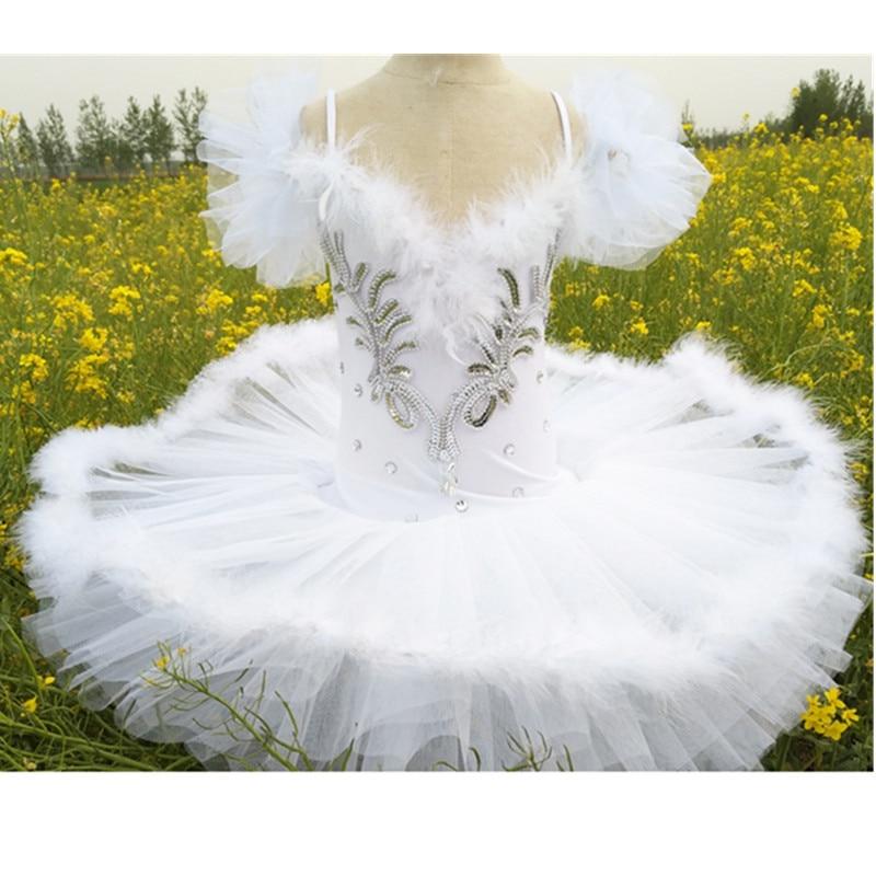 Professional Ballet Tutu Pancake Children White Swan Lake Ballet Costume Kids Danse Girls Feather Ballerine Tutu Skirts
