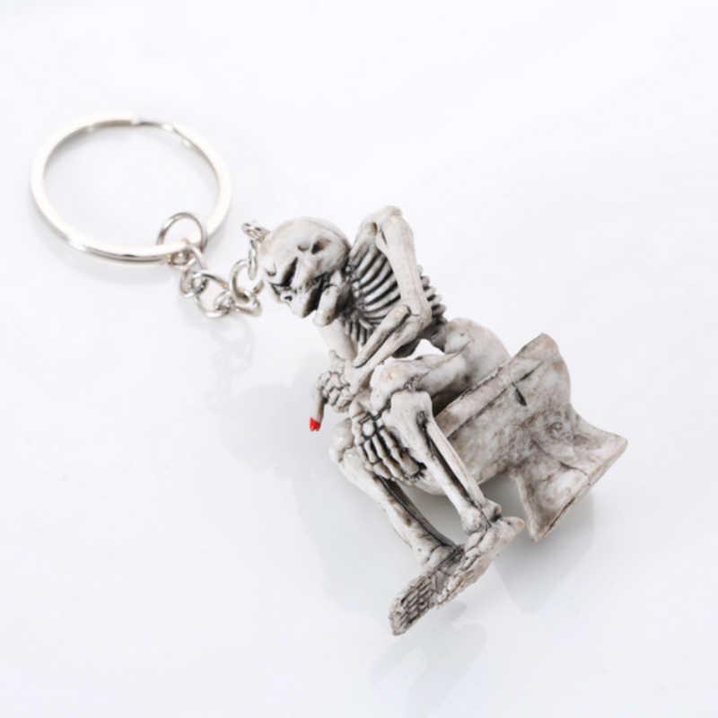1 قطعة أزياء الإبداعية الشرير الصخرة الجمجمة الهيكل العظمي المرحاض محفظة حقيبة المفاتيح المطاطية هدية كيرينغ مفتاح سلاسل