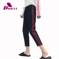 DORAN High Waist Black Jeans For Women Plus Size Stretch Jeans Two Red Side Stripe Harem