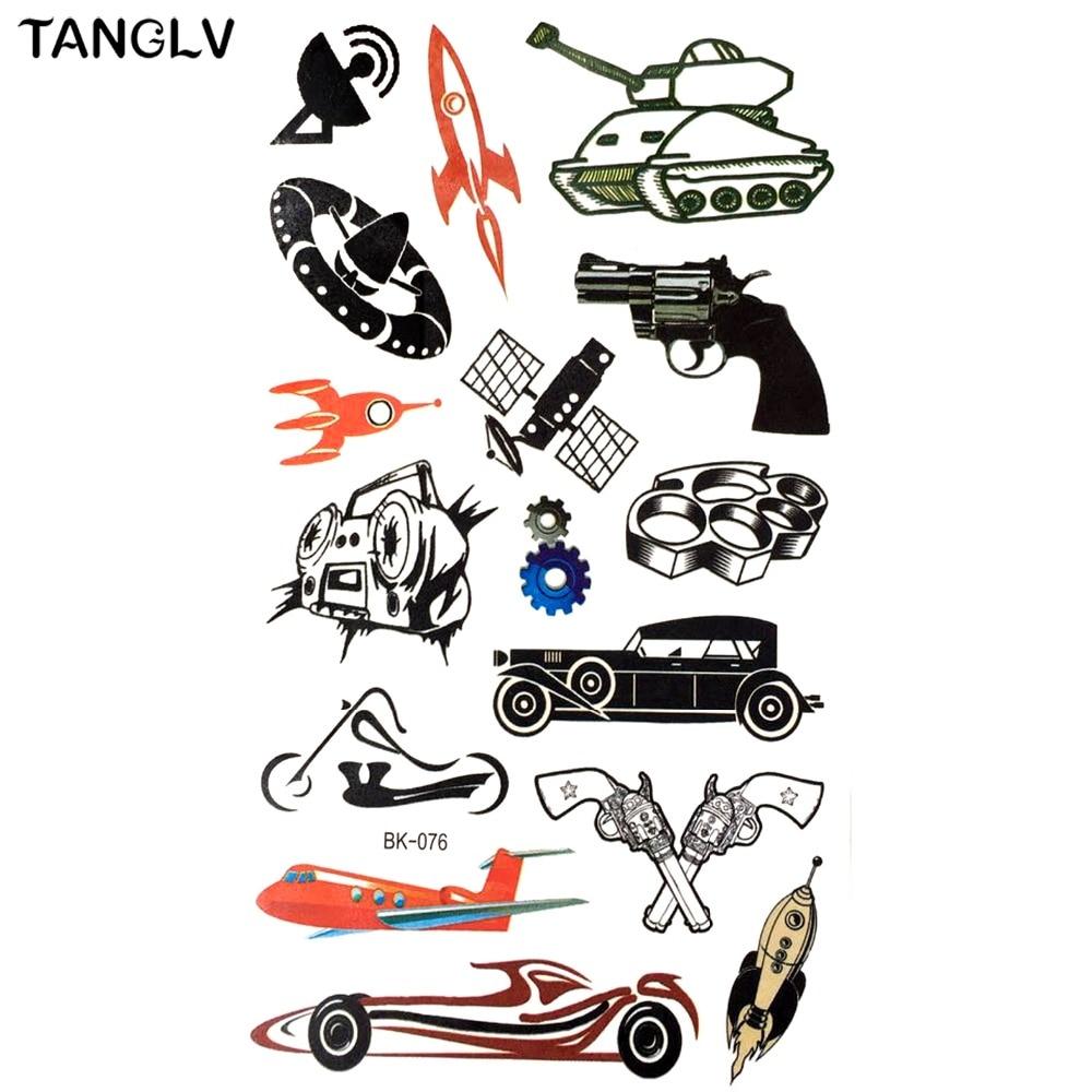 TANGLV Brand 3D Gun Racing Car Temporary Tattoo Sticker Boys Toys Tatoos, Child Flash Cartoon Waterproof Tattoo Body Art tattoos