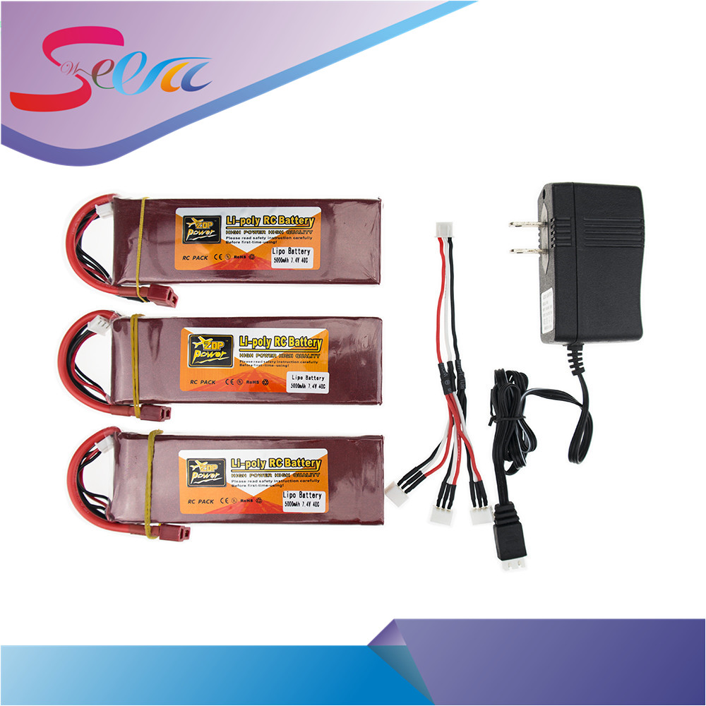 7.4V Lipo battery 5000mAh 40C ZOP Batteies T XT60 and charger with cable suit for rc Quadcopter Airplane drone Parts wholesale 3pcs battery and european regulation charger with 1 cable 3 line for mjx b3 helicopter 7 4v 1800mah 25c aircraft parts xt30