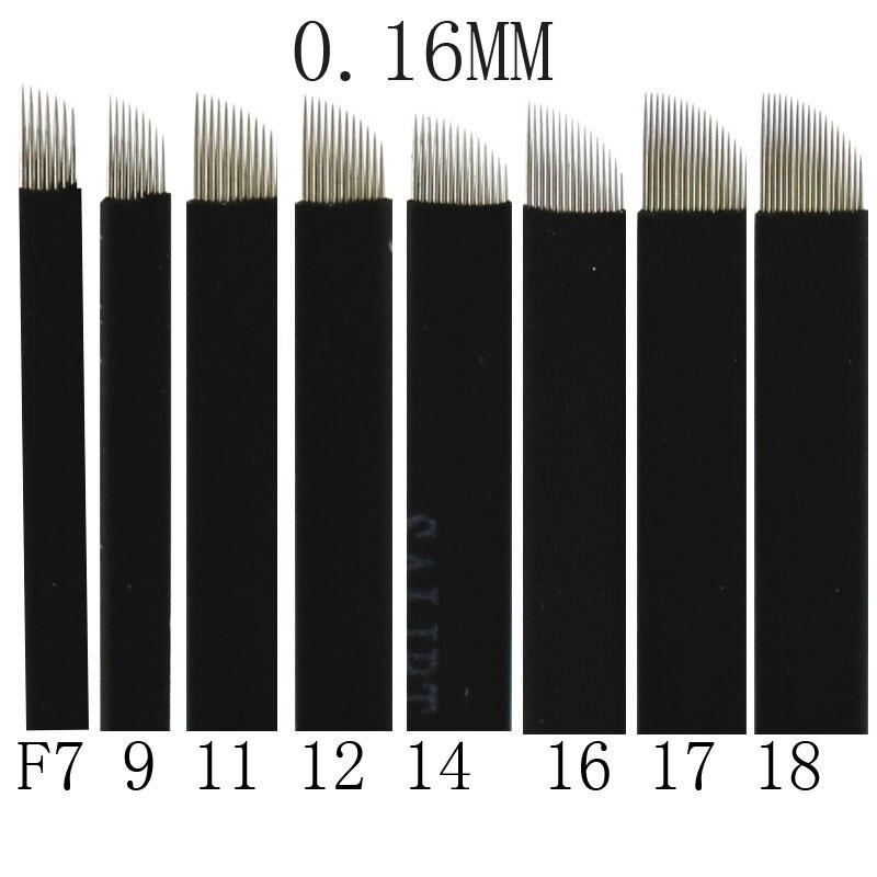500 Pcs 0 16mm Black Microblading Blade Permanent Makeup Manual Eyebrow Tattoo Needle Pin Bevel 7
