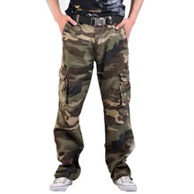 2019 New Men Cargo Pants army green big pockets decoration mens Casual trousers easy wash male autumn pants