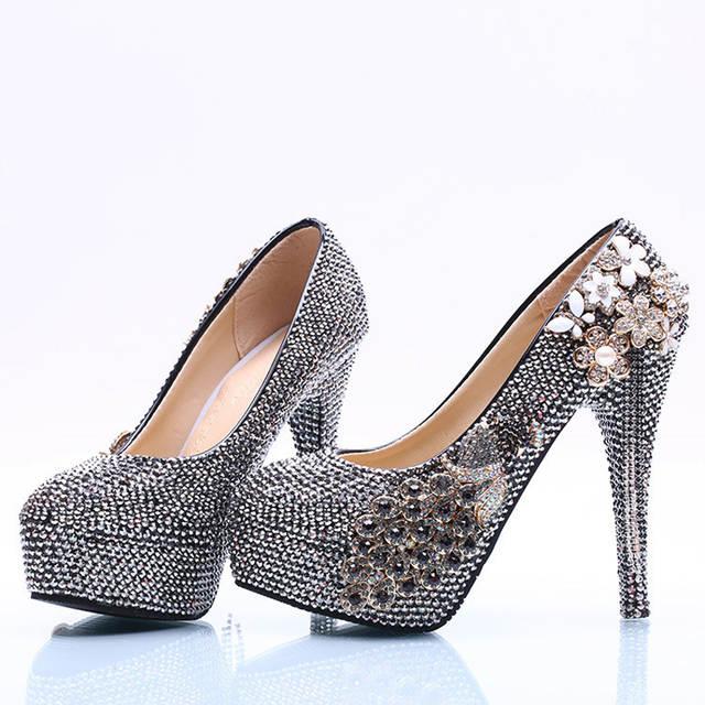 placeholder Luxurious Black AB Crystal Wedding Bridal Shoes Rhinestone  Formal Dress Shoes Matric Graduate Farewell Ceremony Pumps 200da1019a4b