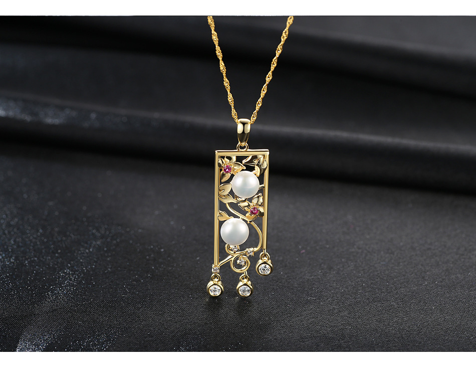 Openwork engraved hypoallergenic sterling silver necklace zircon natural pearl ladies accessories MGB03