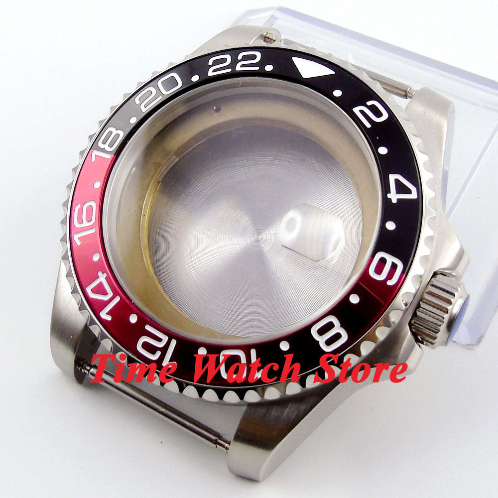лучшая цена 43mm Sapphire glass black&red bezel stainless steel Watch Case fit ETA 2824 2836 movement 49