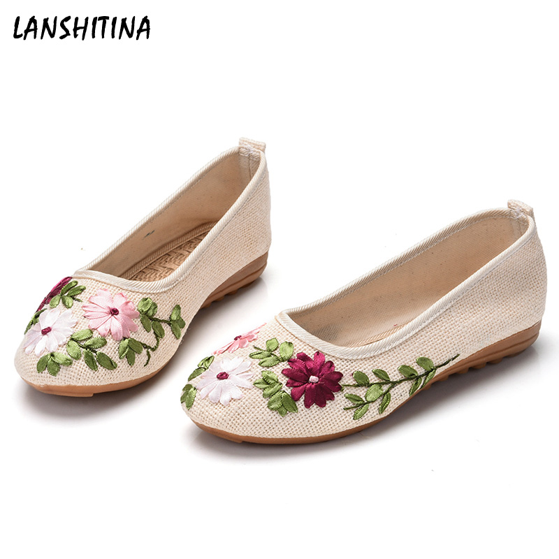 2017 New Women Flower flats Slip on Cotton Linen Fabric Casual Shoes Comfortable Round Toe Old Beijing shoes Five colors old beijing shoes new women s cotton
