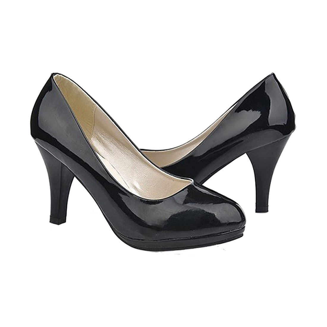 Hot Fashion Classic Sexy office lady round Toe platform low Heels Women wedding Pumps Shoes Black plus size