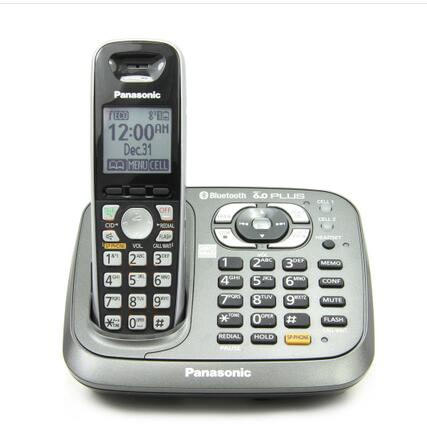 d642ab2a15ad KX-TG6581 DECT 6.0 PLUS Link-to-Cell Bluetooth Cordless Phone with Answering  System Home Telephone Metallic Black, 1 Handset