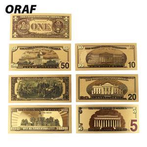 7 шт 100/50/20/10/5/2/1 доллар поддельные деньги реквизит деньги США банкноты в 24K позолоченные поддельные валюты Mone подарки