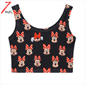 2017 summer women black fashion harajuku cartoon print mouse short slim stretchy crop top