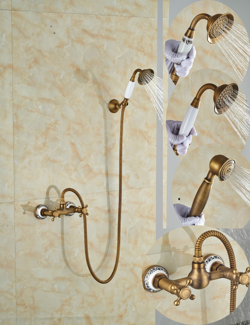Wholesale And Retail Luxury Antique Brass Shower Faucet Set Dual Cross Handles Ceramic Base Wall Mounted wholesale and retail golden brass diamond ceramic base tooth brush cup holder tumbler holders with dual ceramic cups
