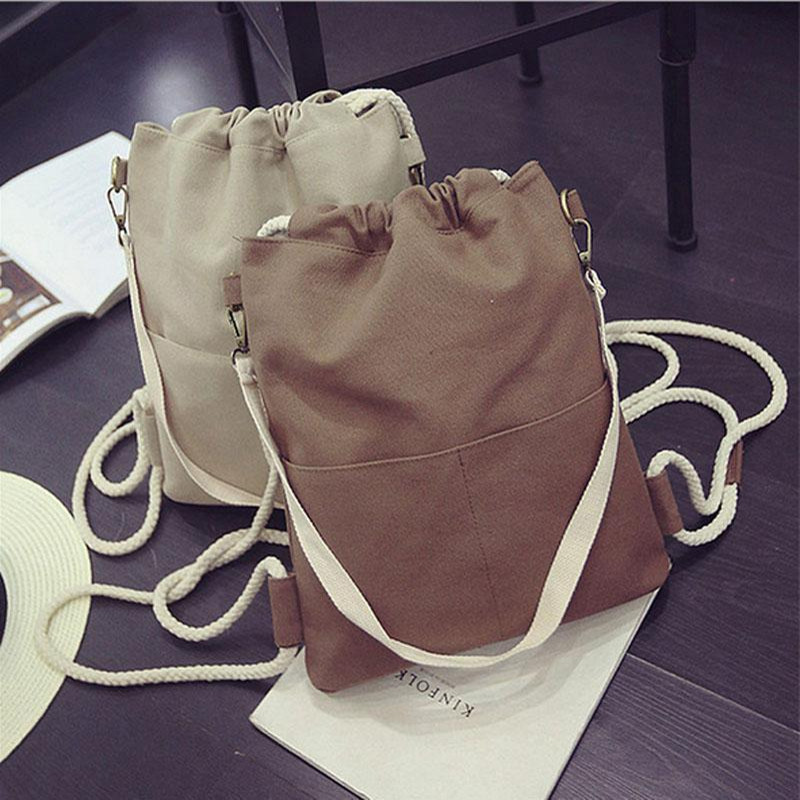 Drawstring Beach bag Women Backpacks Casual Canvas Travel Bags 3 Colors