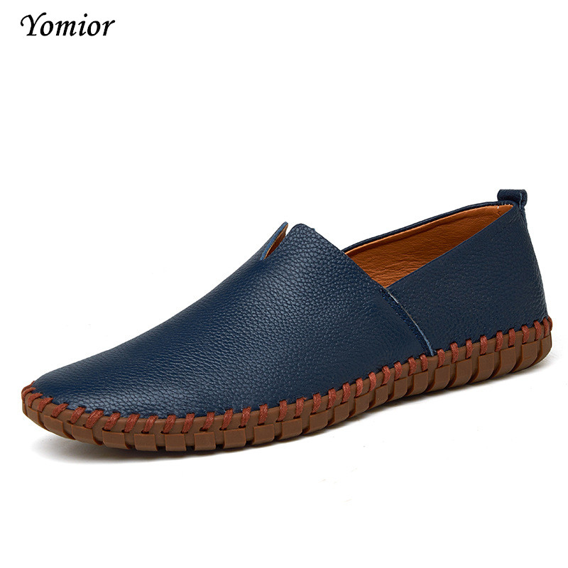 Yomior Men Casual Shoes Spring Autumn British Style 100% Real Leather Breathable Mesh Top Fashion Flat Large Size Leather Shoes