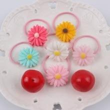 Диаметр 20 мм Хризантема девушка из смолы резинка 6 цветов эластичные резинки для волос аксессуары для волос для детей 1 шт