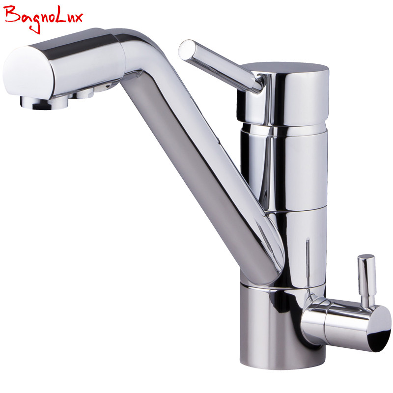 Bagnolux Polish Silver Finish Osmosis Reverse Tri Flow Water Filter Tap 3 Way Sink Mixer Three Way Kitchen Faucet 3in1 Water Tap