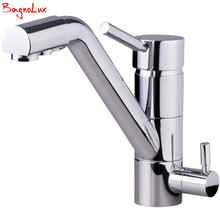 цена на Polish Chrome Silver Finish Osmosis Reverse Tri Flow Water Filter Tap 3 Ways Sink Mixer Three Way Kitchen Faucet 3in1 Water Tap