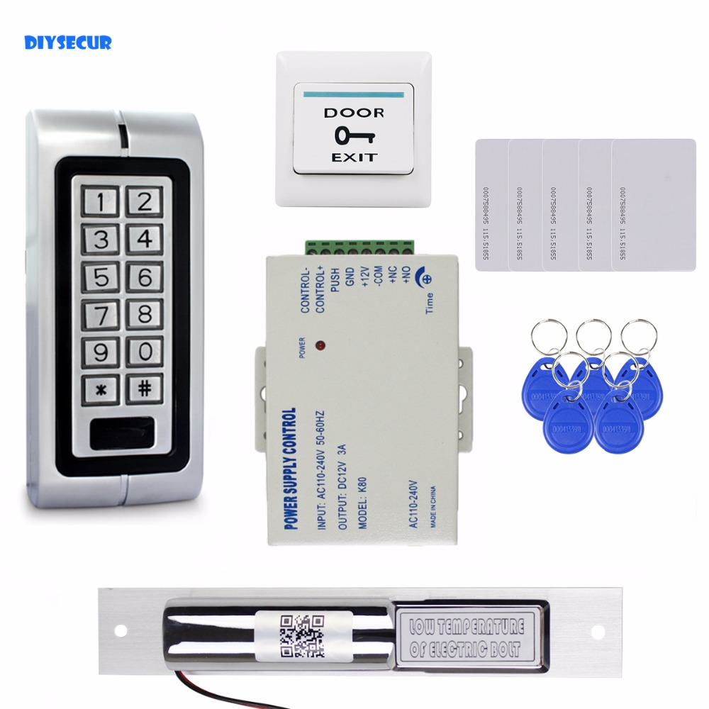 DIYSECUR Complete 125KHz RFID Reader Metal Keypad Password Access Control System Kit + Electric Bolt Lock + Power Supply diysecur magnetic lock door lock 125khz rfid password keypad access control system security kit for home office