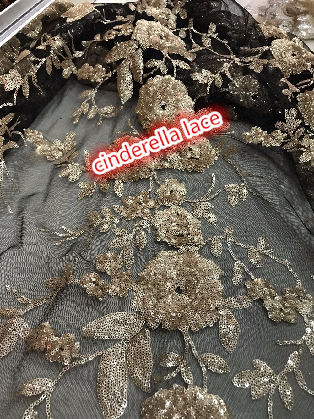 9 colors super quality sequins embroidery tulle mesh lace fabric JIANXI C 32239 french net lace