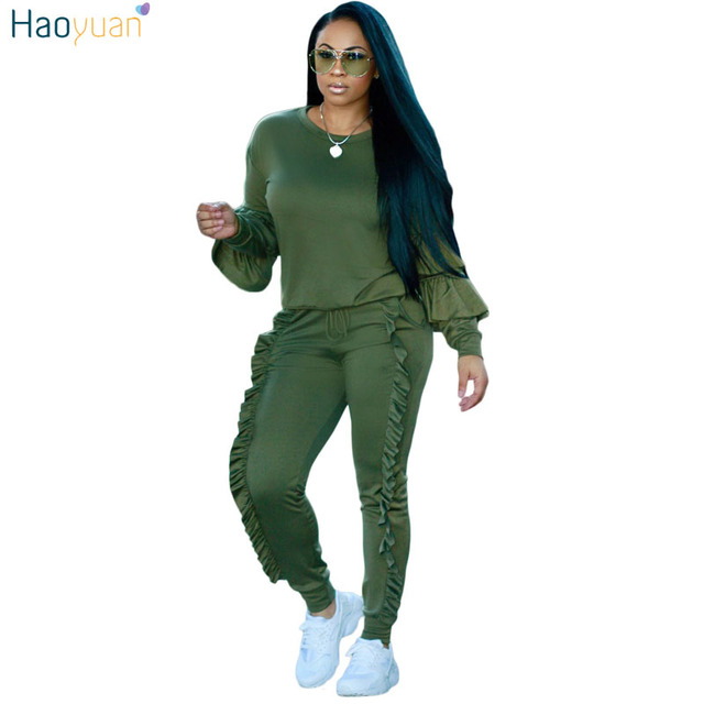 96846d0373 US $23.69 25% OFF|HAOYUAN 2 Piece Set Women 2018 Autumn Winter Sweatsuit  Long Sleeve Ruffle Top+Pants Track Suits Casual Tracksuits Two Piece Set  -in ...