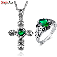 Szjinao Handmade Wedding Jewelry Sets Cross Emerald Strerling Silver Ring /Pendant Sets for Women Silver Jewelry Sets